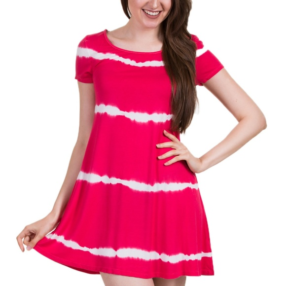 7a2648132c Hearts & Hips Dresses   Stripe Tie Dye Dress Red Coralwhite   Poshmark